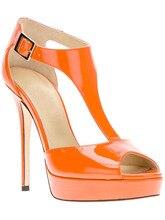 Seil Heels 2015 Sommer Frauen Schuhe Sandalen T Strap Schnalle Fringe Heels Thin Hohe Reale Bild Plus Größe Offene spitze Orange