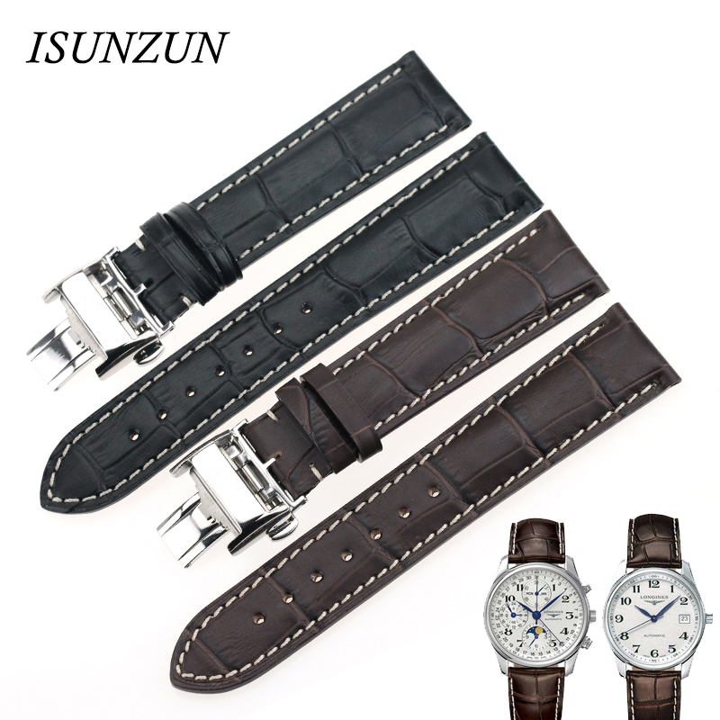 ISUNZUN Watch Band for Longines L2 Watch Strap Leather Watchband Genuine Leather Brand longines часы купить в москве