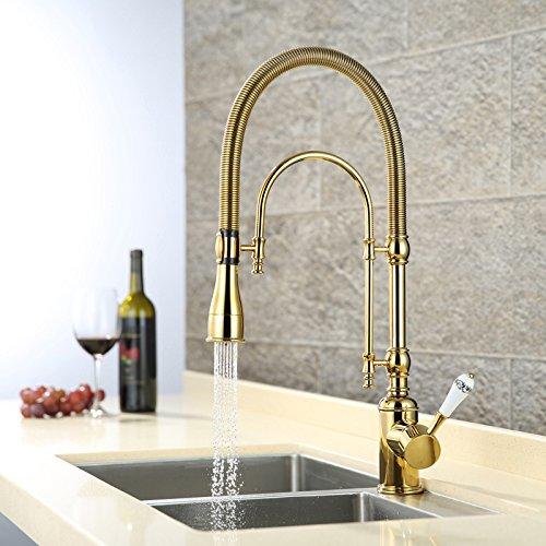 Роскошный Золотой 540 мм высокий выдвижной кухонный кран Твердый латунный Смеситель для мойки с двумя функциями выдвижной спрей