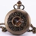Стимпанк барокко старинные антикварные архаическим готический темно коричневый бронзовый механические карманные часы свитер цепи тактовой ожерелье TD108
