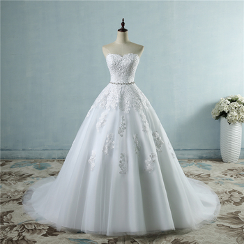ZJ9032 lace flower Sweetheart White Ivory Fashion Sexy 2019 Wedding Dresses for brides plus size maxi size 2-26W 2
