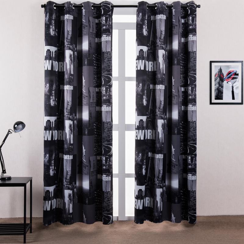 Doppel Schwarz Und Weiß New York Vorhänge für wohnzimmer vorhang ...