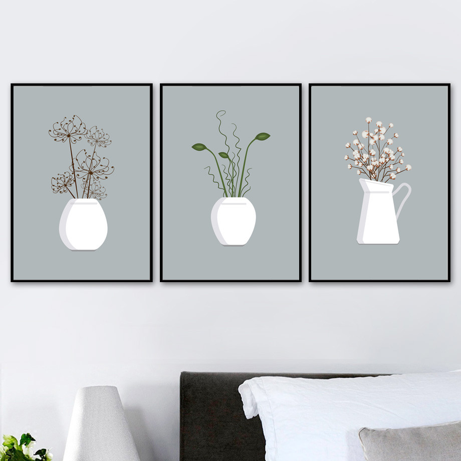 Potted Plant Flower Wall Art Canvas Painting Nordic Posters And Prints Wall Pictures For Living Room Canvas Art Print Decor