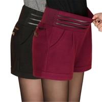 Осень укороченные штаны женские шерстяные Шорты пикантные с эластичной талией утолщенной сплошной цвет шаровары короткие брюки feminina Больш...