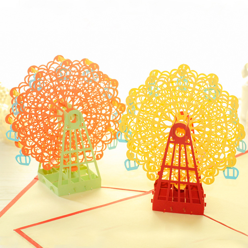 3pcs/lot Birthday wedding Sky Wheel Handmade Creative Kirigami & Origami 3D Pop UP Greeting & Gift Cards postcards for sale 3d pop up the god of wealth creative gifts for birthday post card greeting cards holiday 1411r