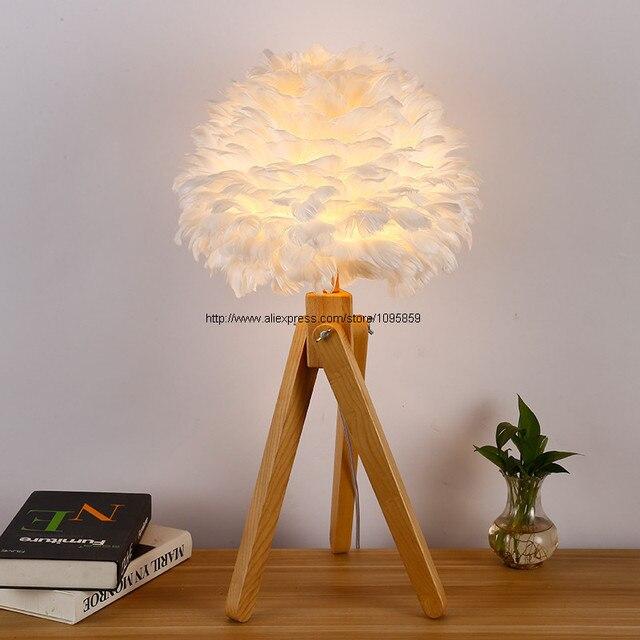 blanc plume globe ombre table en bois lampe chambre en bois standard bureau clairage dans. Black Bedroom Furniture Sets. Home Design Ideas