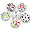 5pcs/lot Mix Colors Multi Color Enamel Flower Snap Button fit  Ginger Snap Charm Bracelet DIY Jewelry for Gift