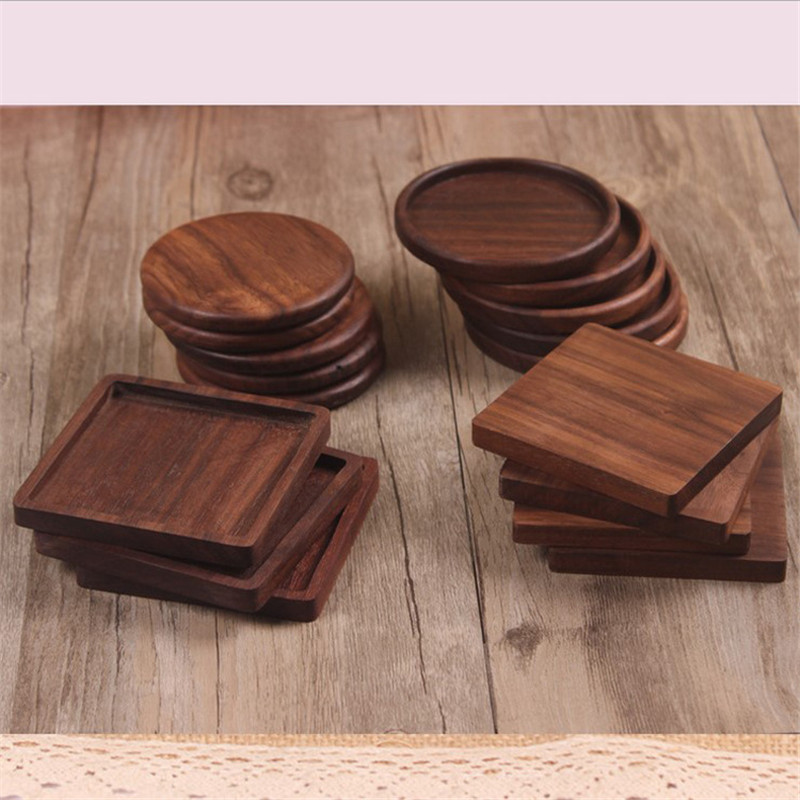 1pcs Eco-friendly Walnut Wood Wooden Round Square Mat Heat Insulation Tea Cup Holder Pad Small Placemat Anti-hot Coaster Gift