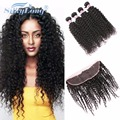 Ear To Ear Lace Frontal Closure With Bundles Mongolian Kinky Curly Virgin Hair Lace Frontal Closure With Bundles KINKY Curly