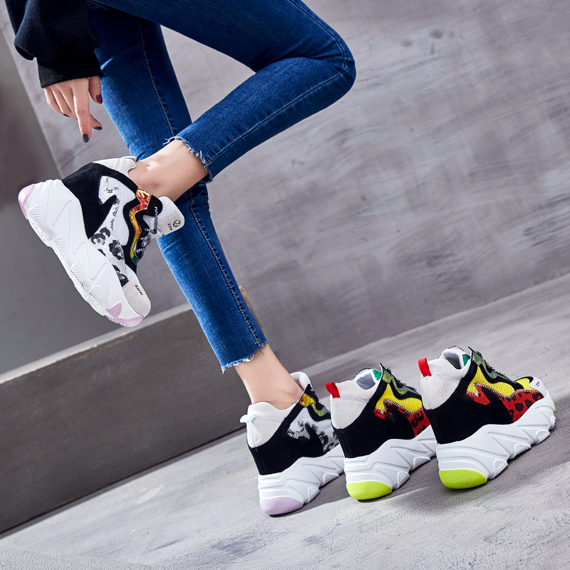 SWYIVY Women Summer Shoes Platform Sneakers 2019 New Mesh Female Casual Shoes Wedge Chunky Heels Sneakers