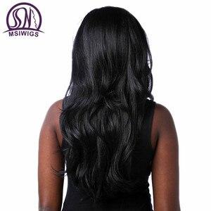 Image 4 - Msiwigs perucas onduladas sintéticas com franja lateral de alta temperatura fibra cabelo preto peruca longa para preto