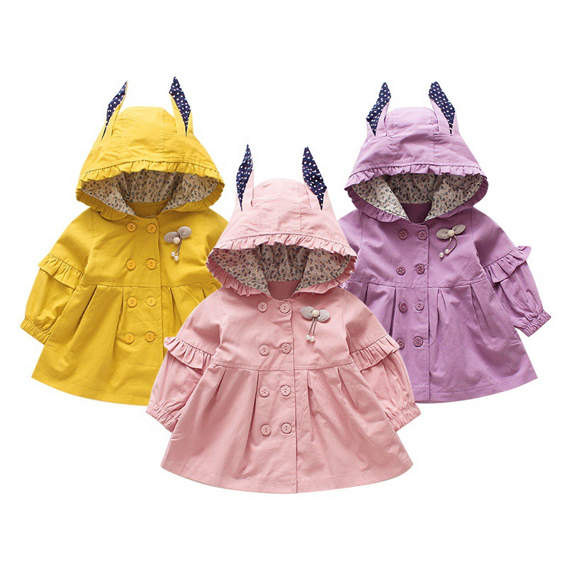 0-4 Years Old Children Girls Coats Cartoon Cotton Hooded jacket baby girls full sleeve long jacket solid color цена 2017