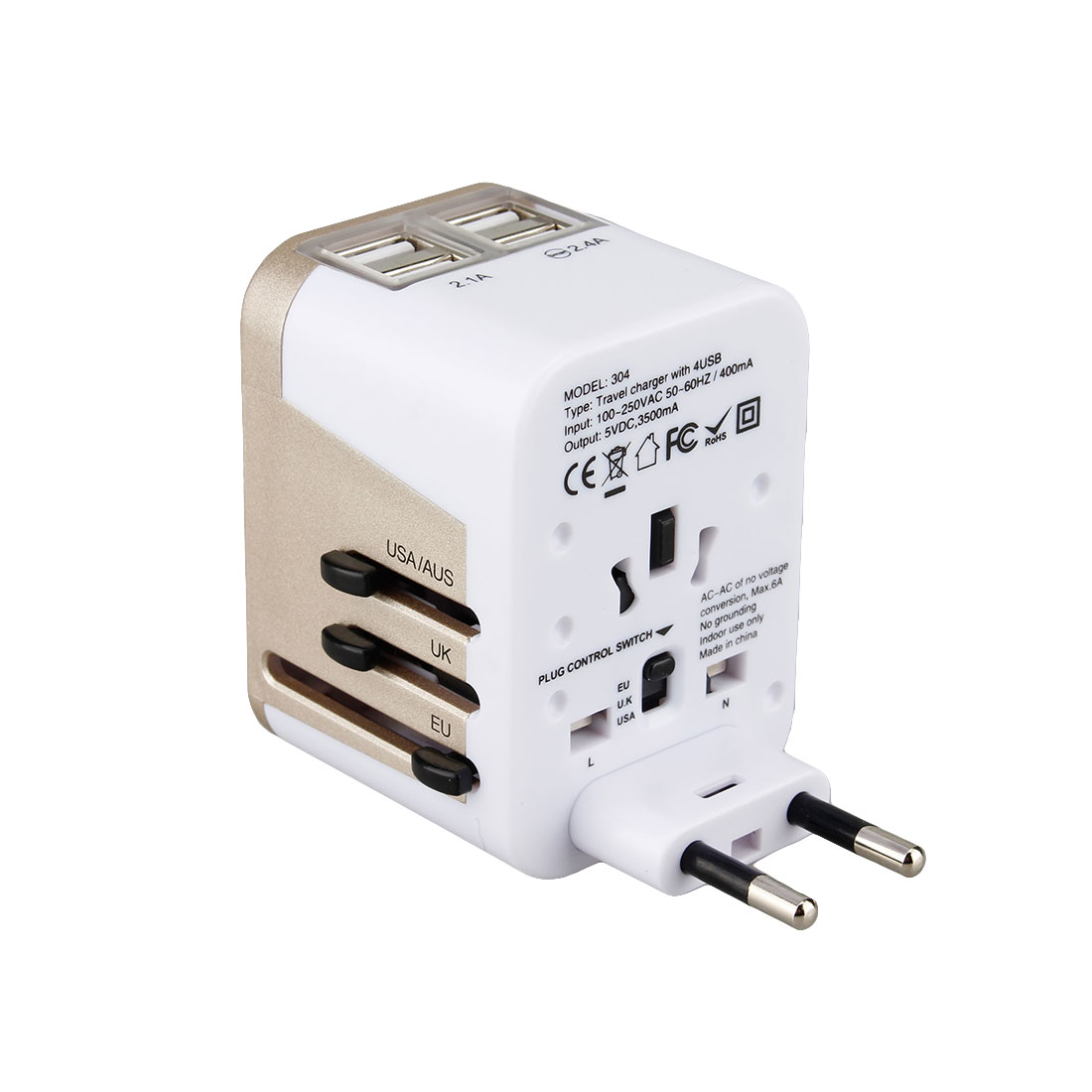 MAIF Color 4 USB Port All in 1 Universal International Plug Adapter World Travel AC Power Charger Adaptor with AU US UK EU Plug