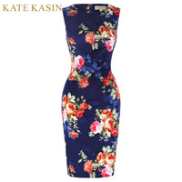 Women Print Floral Retro Vintage Pencil Dress Elegant Hips Wrapped Bodycon Dresses Summer Office Party Vestidos