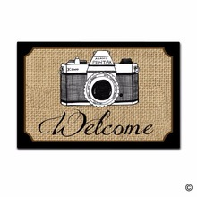 Funny Printed Doormat Entrance Floor Mat Camera Welcome Non-slip 23.6 by 15.7 Inch Machine Washable Non-woven Fabric