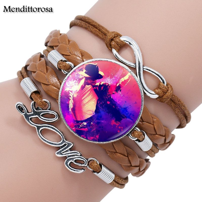 Mendittorosa Michael Jackson Glass Cabochon Multilayer Black/Brown Leather Bracelet Bangle For Women Handmade Colorful Peacock