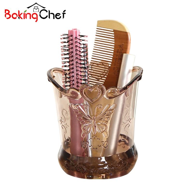 BAKINGCHEF Relief Retro Makeup Brush Cylinder Comb Storage Cases Desktop Organizer Accessories Supplies Gear Stuff Product Lot