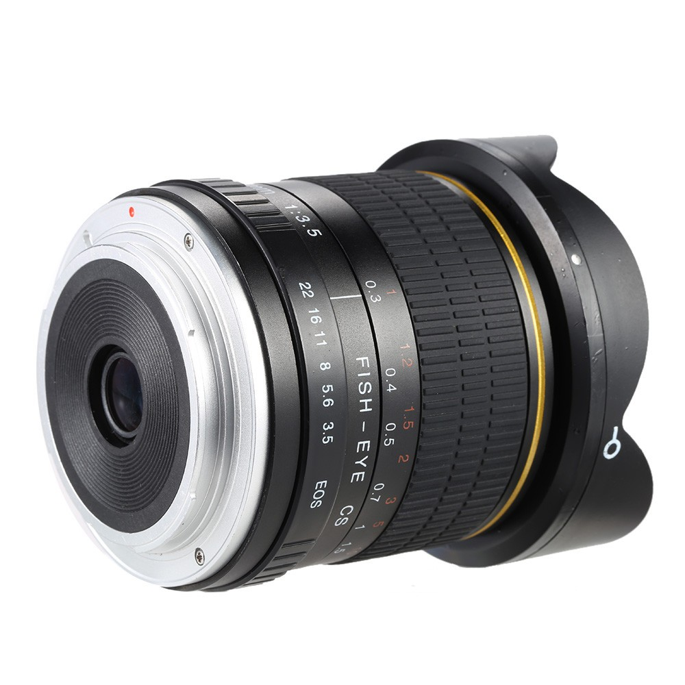 8mm F/3.5 Ultra Wide Angle Fisheye Lens for Canon DSLR Cameras 1500D 10D 800D 760D 750D 700D 750D 600D 80D 70D 60D 77D 7D 5