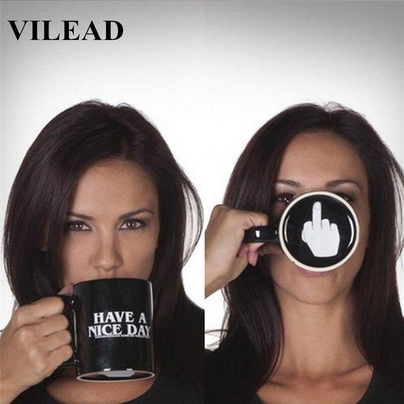 VILEAD Creative Drôle Café Thé Tasse Ont Un Beau Jour et Doigt du milieu En Céramique Délicate Tasse D'eau Personnalité Bureau Imbéciles Jour Cadeau