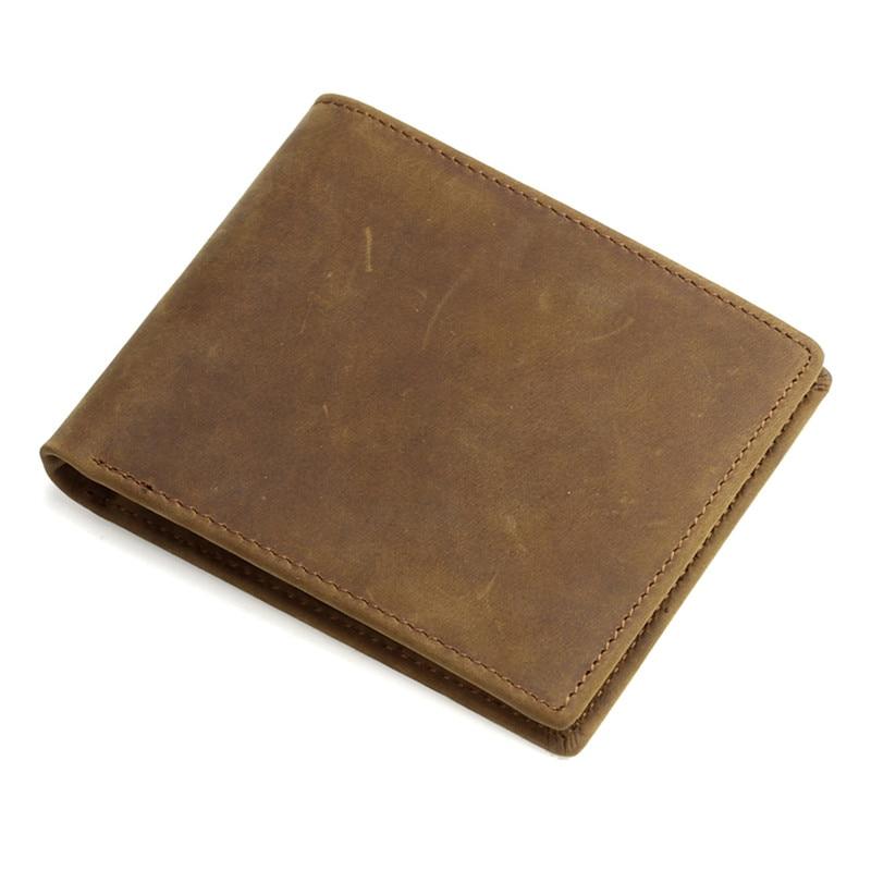 nesitu high quality front pocket vintage brown real skin genuine leather men wallets crazy horse. Black Bedroom Furniture Sets. Home Design Ideas