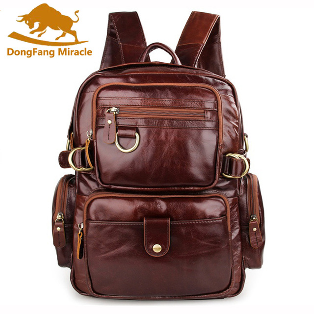5e032f305f87 US $74.4 40% OFF|DongFang Miracle Vintage Unisex 100% Guarantee Real  Genuine Leather Backpack Men Women Fashion Designer Brand Travel Bags-in ...