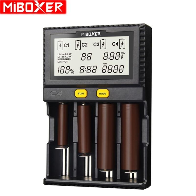Miboxer C4 LCD Smart Batterie Ladegerät pelz Li-Ion IMR ICR LiFePO4 3,7 v 18650 14500 26650 21700 AAA Batterien 100 -800 mah 1.5A