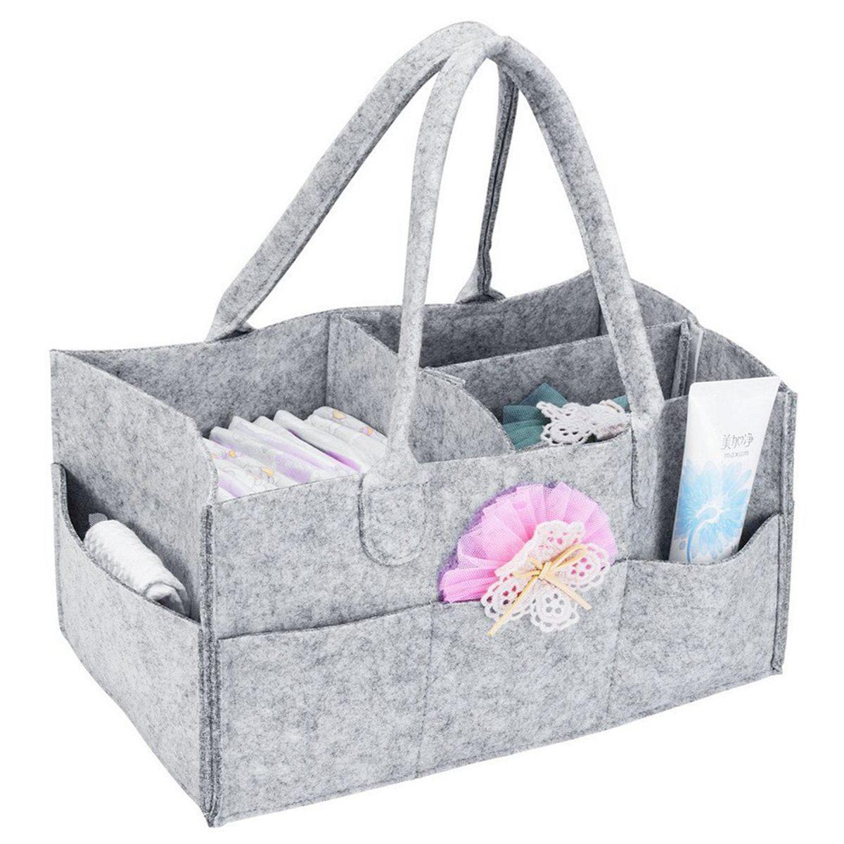 Mummy Bag Nursery Storage Bin-Baby Diaper Caddy-Nursery Wipes Handbag Portable Basket Nappy Organizer