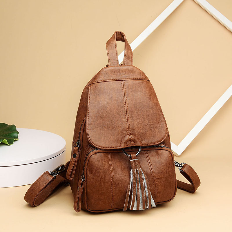Women Leather Backpacks Female Tassel Shoulder Bag Sac A Dos Ladies Bagpack School Bags For Girls Travel Back Pack