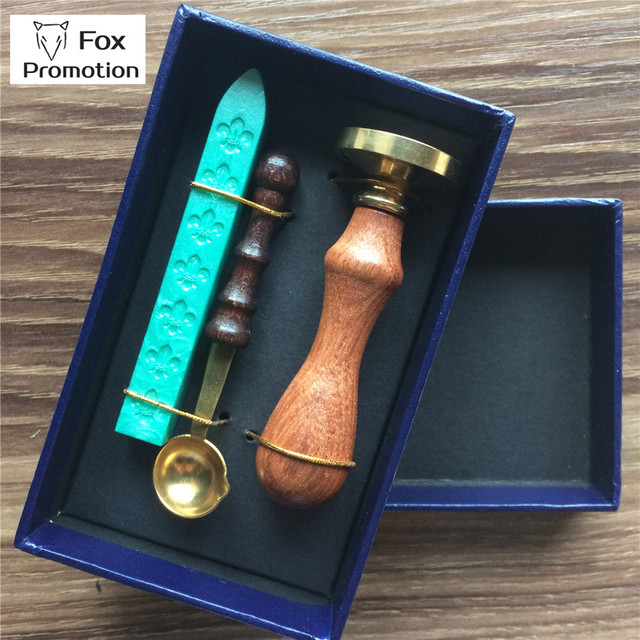 New Customized wax seal Gift Box copper stamp with Wax spoon, league DIY gift ancient seal stamp set,vintage and high quality