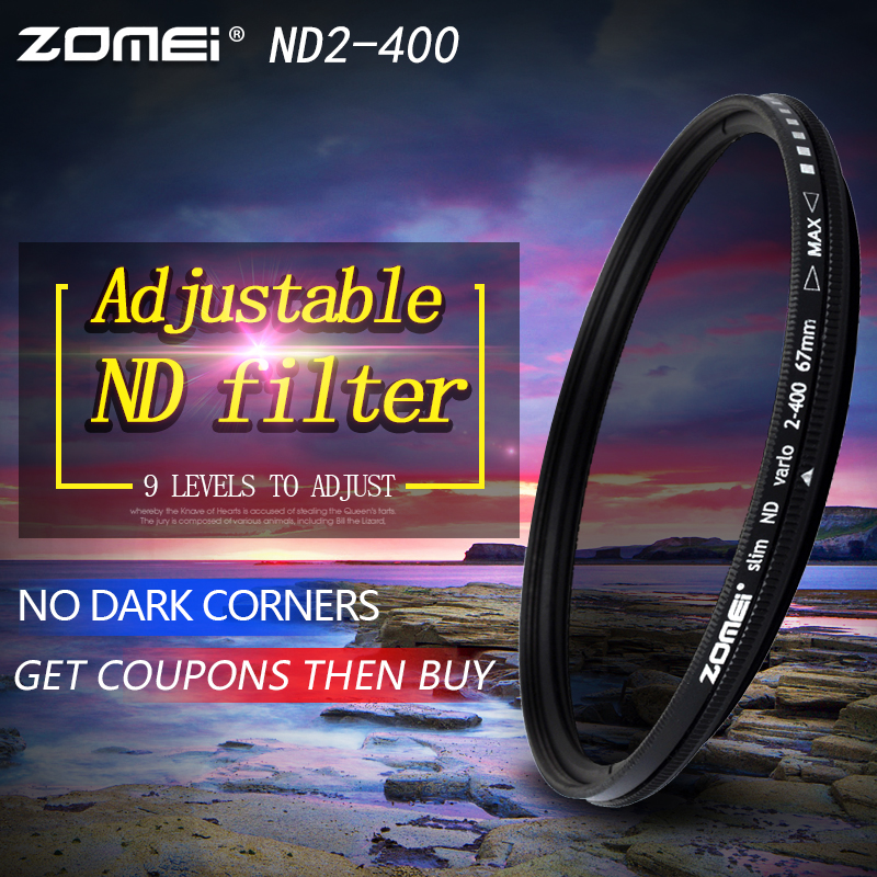 ZOMEi Optical Glass Ultra Slim Fader ND Neutral Density Variable 49/52/55/58/62/67/72/77/82mm ND2-ND400 Lens Filter zomei fader variable nd filter neutral density adjustable nd2 400 49 52 55 58 62 67 72 77 82mm for canon nikon slr camera lens