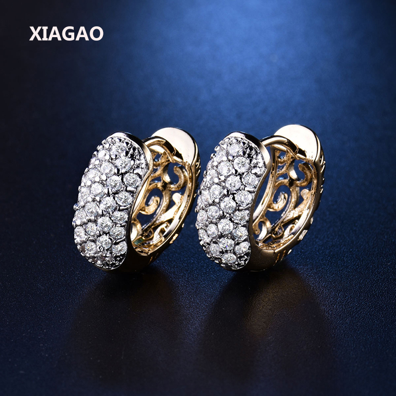 XIAGAO Round Cut CZ Diamond With Micro Zirconia Cluster Hoop Earrings for Women Crystal Shining Earing Jewelry Party Gift E133