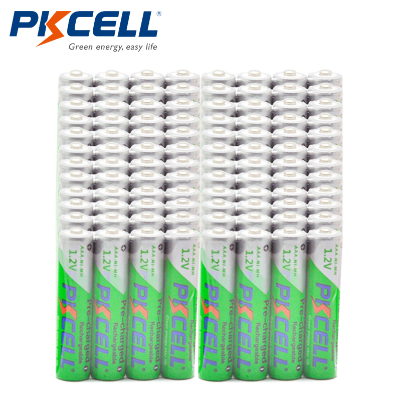 Wholesale 100pcs PKCELL 1 2V 850mAh NIMH AAA Pre charged Rechargeable Battery Batteries Cycles 1200times