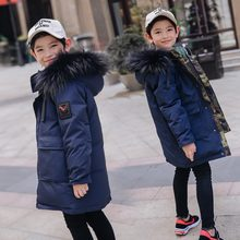 Russion 2019 Boys Winter Duck Down feather Children Thickening Warm Down Jackets long Big Fur Hooded Outerwear Coats Kids Down 2018 new 5 16 year boys winter coats warm casual fashion children hooded outerwear boys down jacket 90% duck down coats 4color