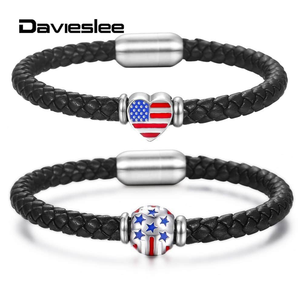 Davieslee 6mm Lovers Braided Rope USA American Flag Couples