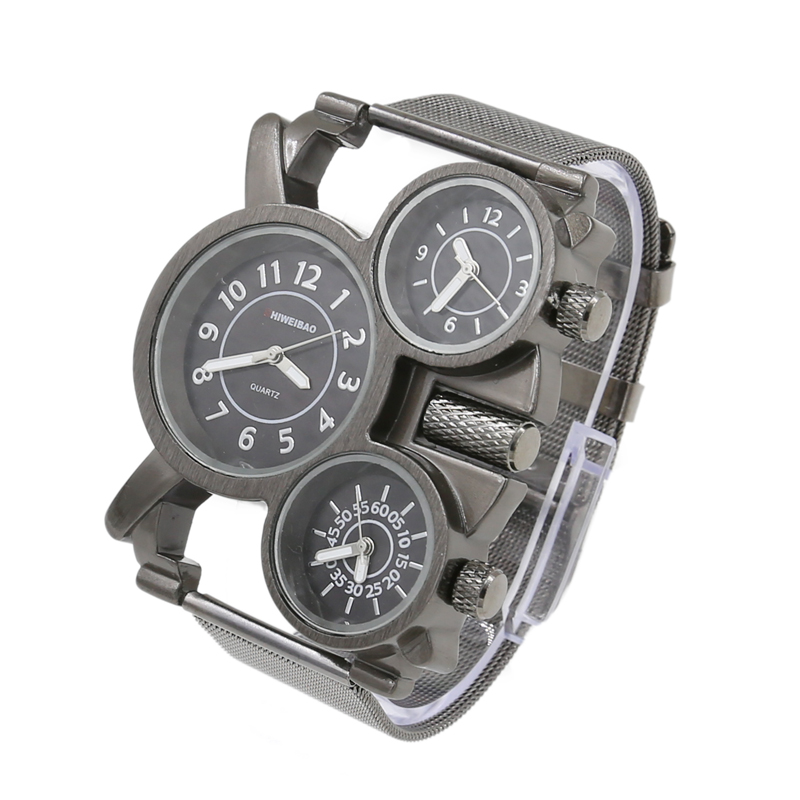 Creative Mens Watches Top Brand Luxury Black Steel Mesh Band Three Times Military Watch Men Unique Quartz Wrist Watch Man Hours
