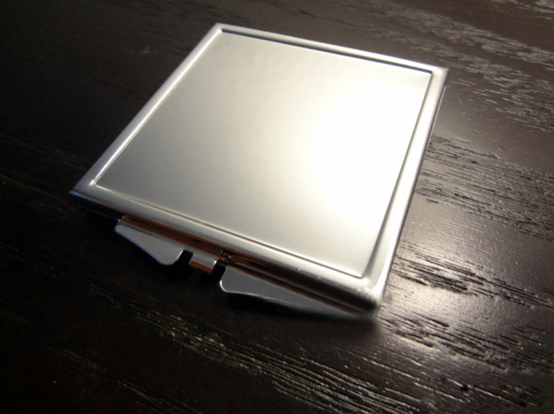 blanco espejo compacto espejo de bolsillo cuadrado de plata grabado libre pequeos espejos mfx