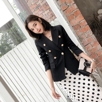 Fashion Black Trailblazer Blazer New Double-breasted Temperament Commuter Suit Jacket Women Short Casual Long Sleeve Tops Women simple casual texture fabric retro decorative buttons commuter loose suit jacket 2019 notched double breasted women jacket coat