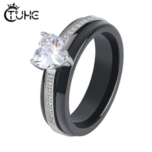 Fashion Ceramic Crystal Heart Shaped Wedding Rings Womens Zircon Engagement Glamour Jewelry Top Quality
