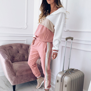 Image 4 - 2020 dres damski zestaw dwuczęściowy stroje dla kobiet Slim kolor kurtka z przeszyciami casualowa kurtka i spodnie garniturowe na co dzień
