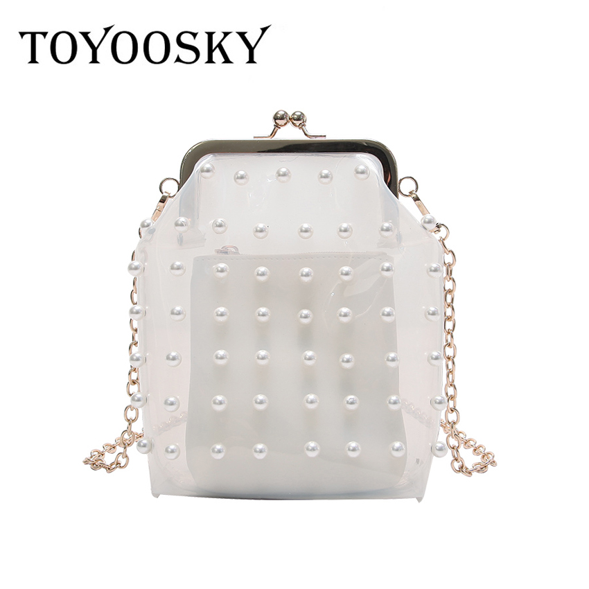 TOYOOSKY Summer Transparent Fashion PVC Pearl Trend Womens Party Clutch Bag Evening Bag Mini Chain Purse Composite Shoulder Bag