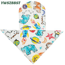 2pcs/set Stars Baby Bib Set Hat + Plush Cotton Winter Warm Bibs Bandana 0-3 years old Child Scarf Collars Kids Caps