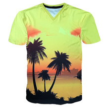 2017 Men's and Women's 3d Print Casual T-shirt Spring Summer Beach Style V-neck Fitness T Shirt Homme Couple Clothing YZ942