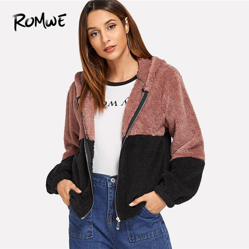 ROMWE Colorblock Hooded Teddy Jacket Womens Jackets And Coats Casual Autumn Clothing Fashion Zipper Long Sleeve Outerwear