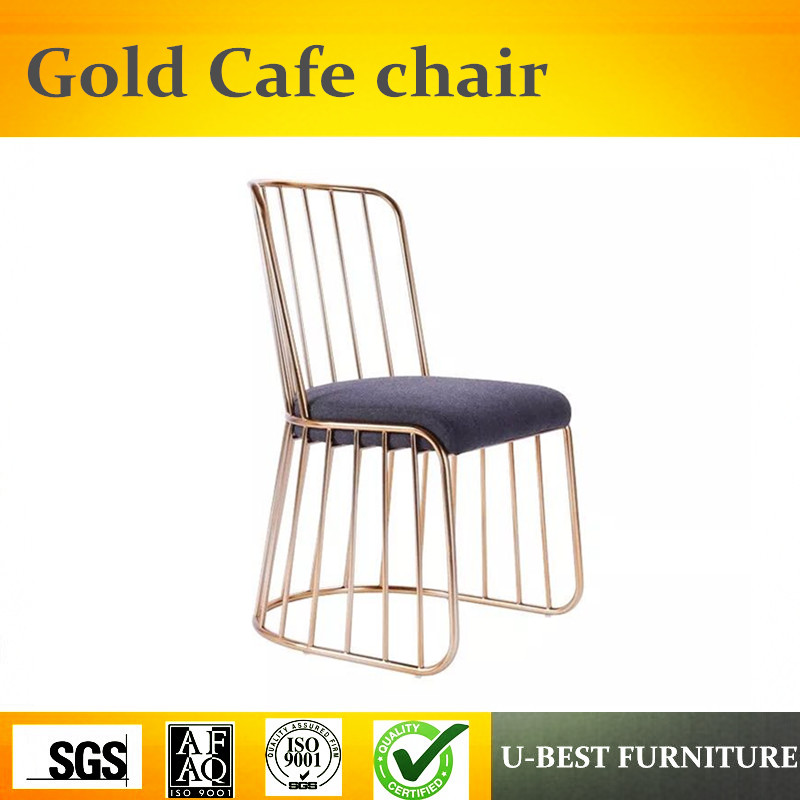 Free shipping U-BEST Modern Dining Room Wire Rose Gold Metal Chair,Fashion Design Modern Dining Room Wire Gold Metal Chair