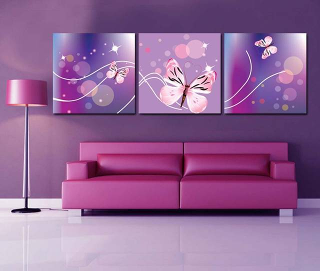 ᗛCLSTROSE Modern Art 3 Panel Flower Painting Contemporary Floral ...