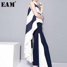 [EAM] 2019 New Spring  Stand Collar Sleeveles Blue Striped Big Hem Irregular Loose Shirt Women Blouse Fashion Tide JL254 knotted hem striped blouse