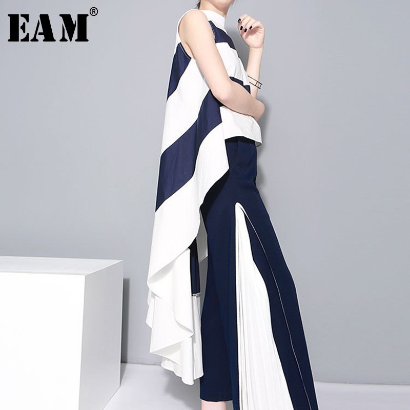 [EAM] 2020 New Spring  Stand Collar Sleeveles Blue Striped Big Hem Irregular Loose Shirt Women Blouse Fashion Tide JL254