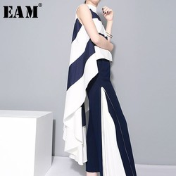[EAM] 2021 New Spring  Stand Collar Sleeveles Blue Striped Big Hem Irregular Loose Shirt Women Blouse Fashion Tide JL254
