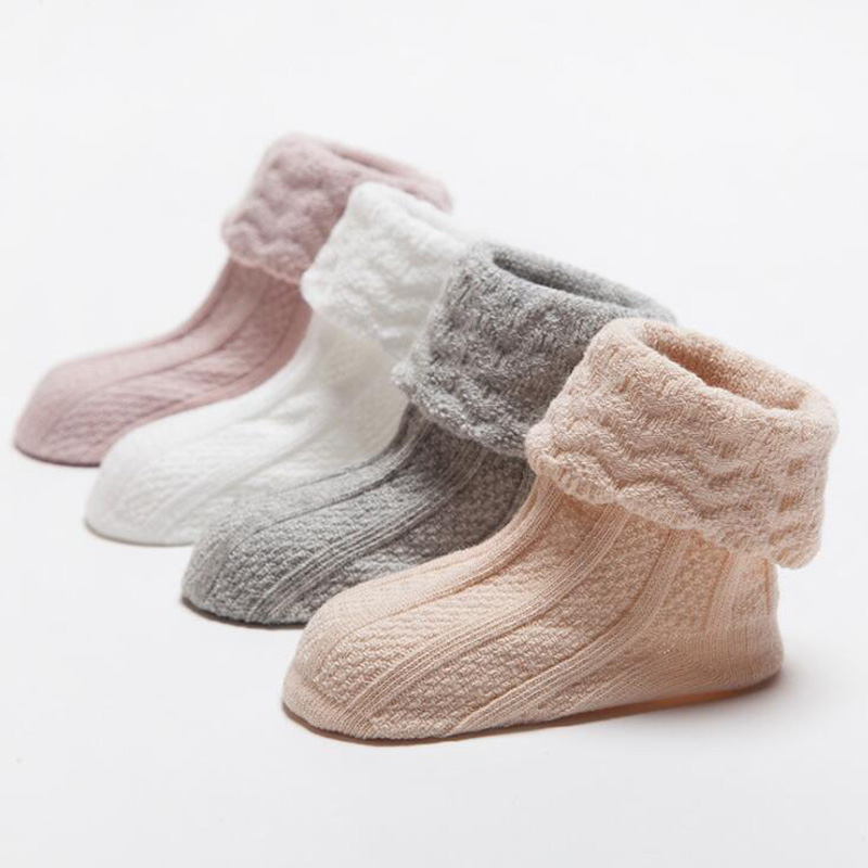 New Autumn And Winter Solid Color Baby Toddler Socks Cotton Double Needle Lace Loose Mouth Baby Anti-slip Foot Socks
