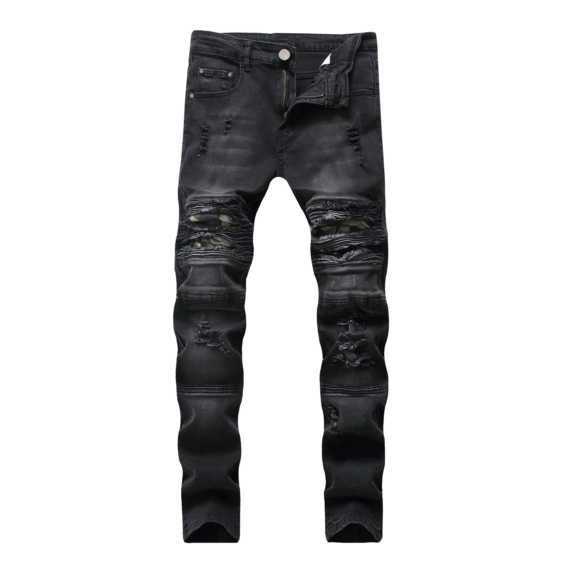 Cross - border supply of foreign trade mens broken holes, slim fit, stretch casual jeans, motorcycle camo mens trousers